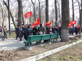 Rally of Sadyr Japarov's supporters near GKNB. Photoreport
