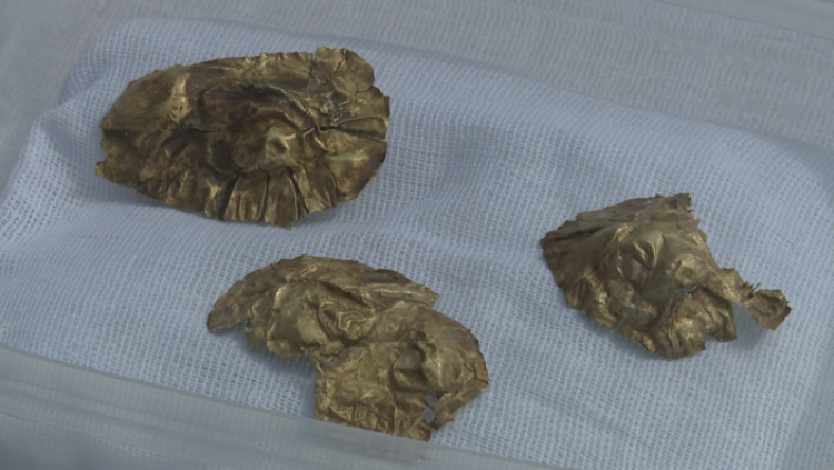 Фото Tengrinews.kz. Кусочки золота, обнаруженные в кургане