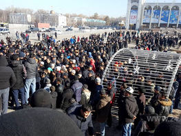 Protesters trying to get to White House in Bishkek stopped by police