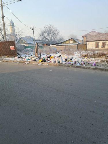 Фото жительницы столицы. В Бишкеке на пересечении проспекта Жибек Жолу и улицы Ибраимова скопилось большое количество мусора