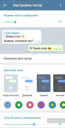 Фото 24.kg. Так выглядит классическая тема Telegram