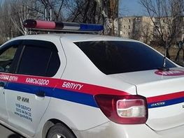 Patrol police car gets into traffic accident in Bishkek