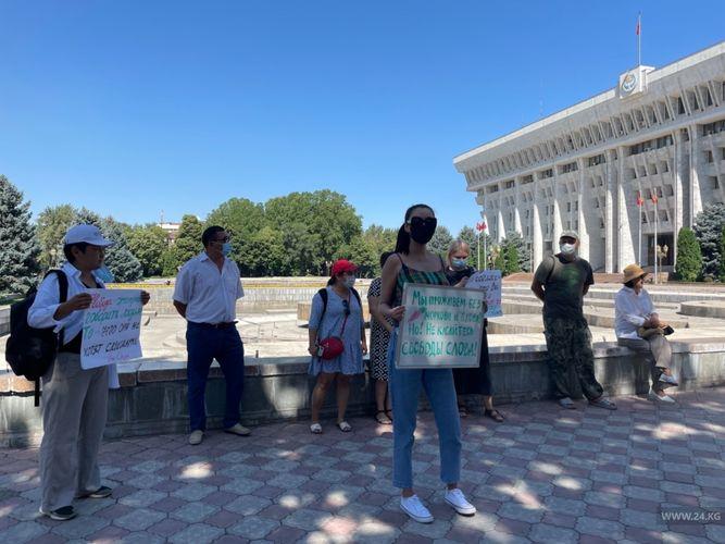 Фото 24.kg. У «Белого дома» проходит акция протеста против законопроекта Гульшат Асылбаевой