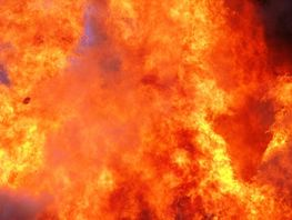 House on fire in Lebedinovka village
