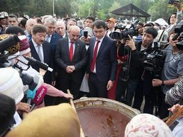 Osh - cultural capital of TURKSOY. Guests take part in Sumolok ceremony